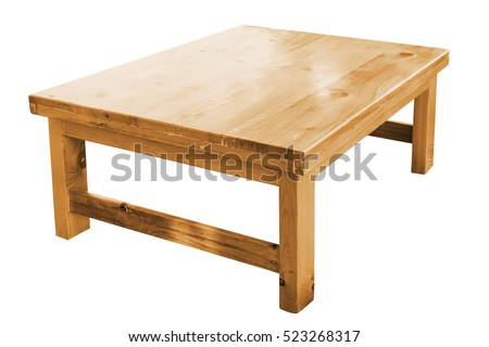 Low Wooden Table Isolated On White Background, Work With Clipping Path.