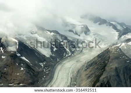 Lowell Glacier in Kluane National Park, Yukon - stock photo