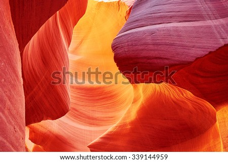 Lower Antelope Canyon in the Navajo Reservation near Page, Arizona USA - stock photo