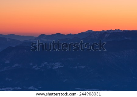Lower Bohinj mountains, a part of Julian Alps after sunset, Slovenia - stock photo