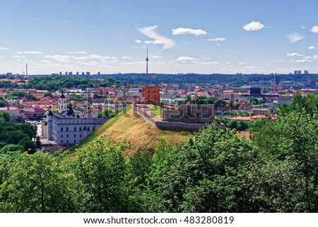 Lower Castle and Gediminas Tower in Vilnius, Lithuania. Gediminas Tower is also called as Upper Castle. Lithuania is one of the Baltic countries in the Eastern Europe.