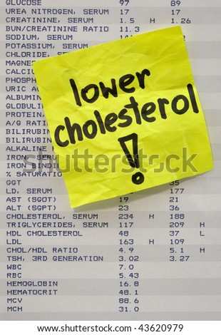 lower cholesterol - yellow reminder note on printout with blood test results - stock photo