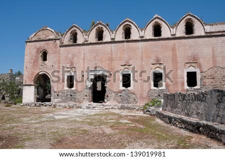 Lower church of ghost town of Kayakoy, Turkey - stock photo