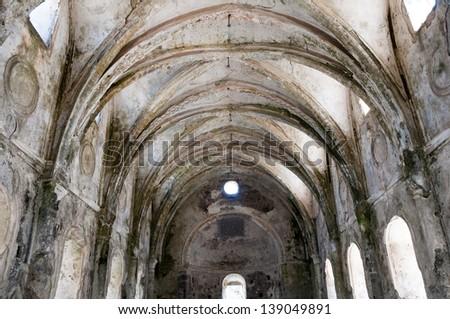 Lower church of ghost town of Kayakoy (Turkey) - stock photo