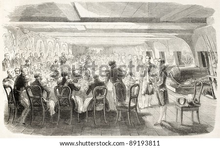 Lower deck banquet aboard the Bretagne. Old illustration. Created by Janet-Lange, published on L'Illustration, Journal Universel, Paris, 1858