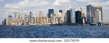Lower end of Manhattan as seen from New York Harbor.