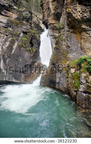 Lower Falls, Johnston Canyon, Banff National Park Vertical - stock photo