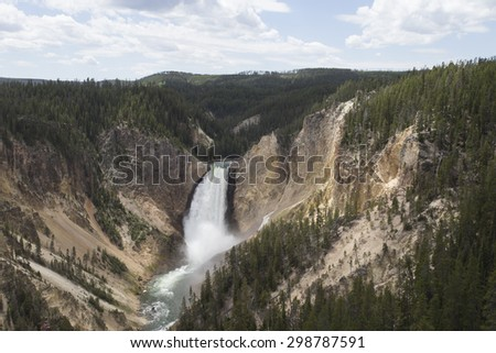 Lower Falls on the Yellowstone river - stock photo