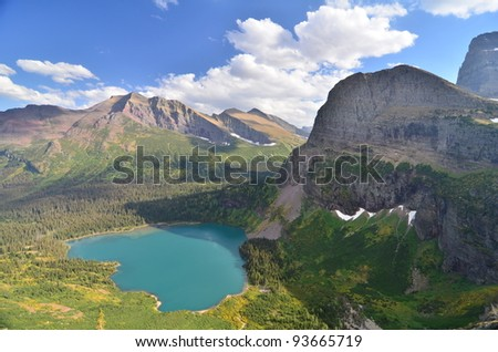 Lower Grinnell Lake, Glacier National Park - stock photo