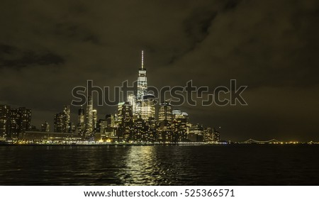 Lower Manhattan, also known as Downtown Manhattan, is the southernmost part of the island at night