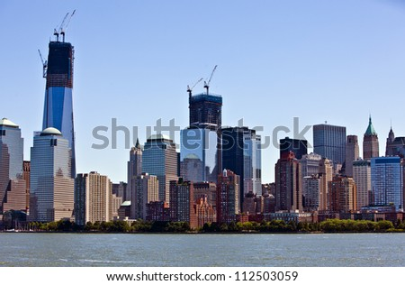 Lower Manhattan and New York financial district - stock photo