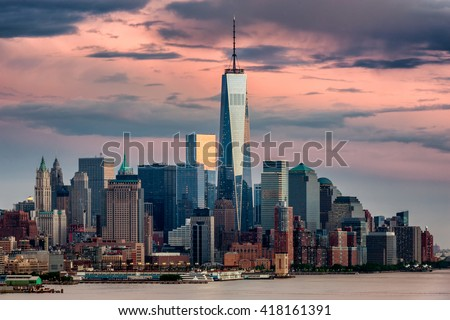 Lower Manhattan and One World Trade Center in New York City, USA as seen from Weehawken New Jersey - stock photo