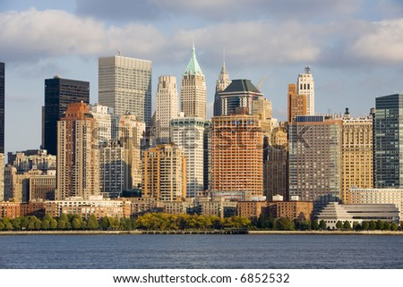 Lower Manhattan and the Hudson River - stock photo