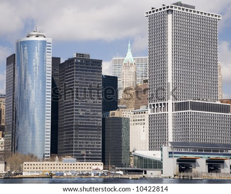 Lower Manhattan as seen from the East River - stock photo