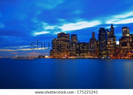 Lower Manhattan at evening - stock photo