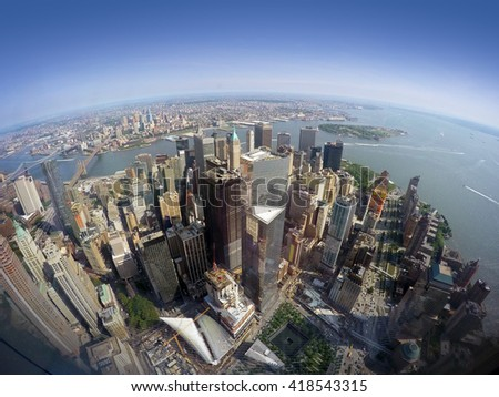 Lower Manhattan, Battery Park, Governors Island, Brooklyn and Hudson River, USA - stock photo
