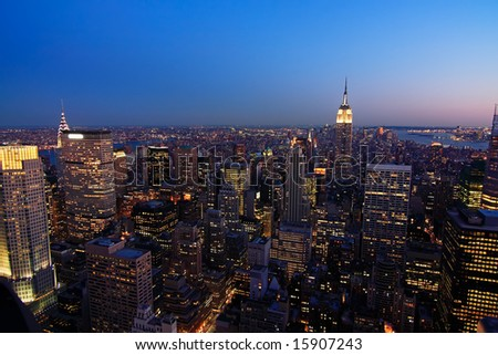 Lower Manhattan cityscape at dusk, from the top of the Rockefeller Center - New York City, USA