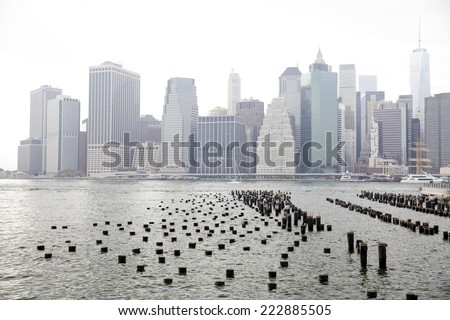 Lower Manhattan cityscape seen from Brooklyn Heights waterfront park at New York City. - stock photo