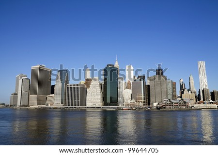 Lower Manhattan in a sunny morning, New York, United States - stock photo