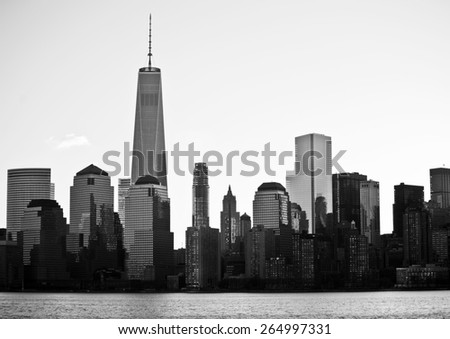 Lower Manhattan in New York City at sunrise in black and white