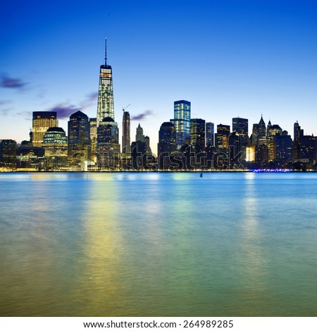 Lower Manhattan in New York City with blue filter - stock photo