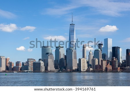 Lower Manhattan is seen from Liberty State Park on March 6, 2016. - stock photo