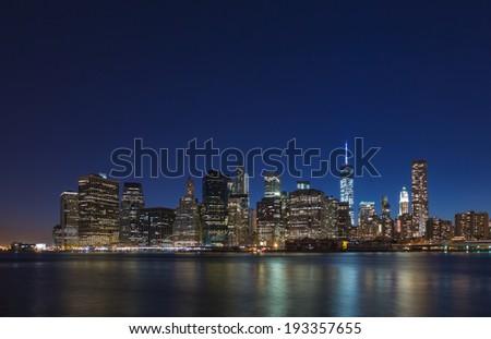 Lower Manhattan, panorama, night skyline. - stock photo