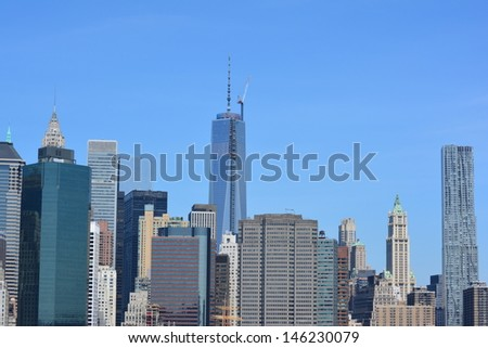 Lower Manhattan skyline. - stock photo