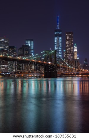 Lower Manhattan Skyline and Brooklyn Bridge, New York - stock photo