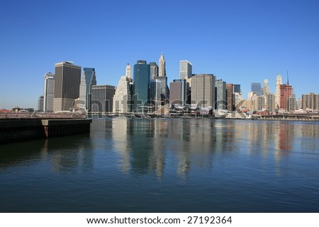 Lower Manhattan skyline and East River as seen from Brooklyn.