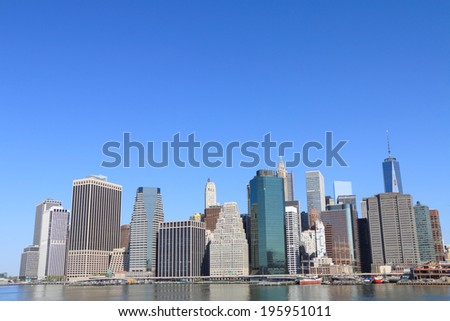 Lower Manhattan Skyline and Skyscrapers on a Clear Blue, New York City - stock photo