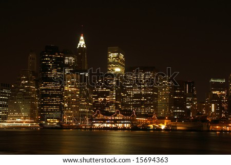 Lower Manhattan skyline at night, from Brooklyn - New York City, USA