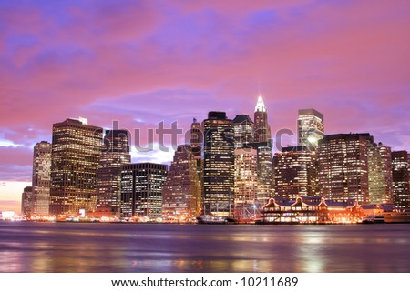 Lower Manhattan skyline At Sunset, New York City