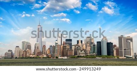 Lower Manhattan skyline from East River - New York. - stock photo