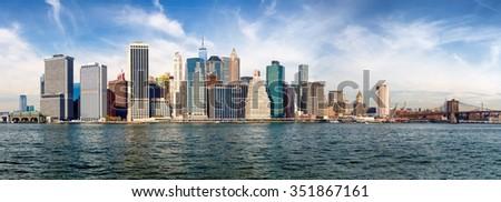 Lower Manhattan skyline. Giant panoramic view. - stock photo
