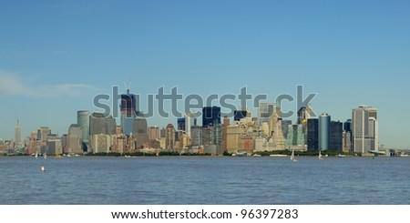 Lower Manhattan Skyline Panorama from Liberty Island, Panorama von Manhattans Skyline, New York City, USA, Amerika - stock photo