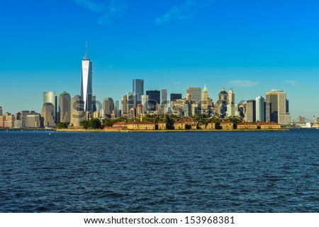 Lower Manhattan skyline panorama over Hudson River view from new jersey - stock photo