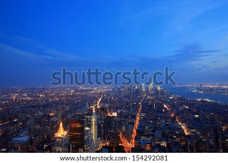 lower Manhattan view at evening - stock photo