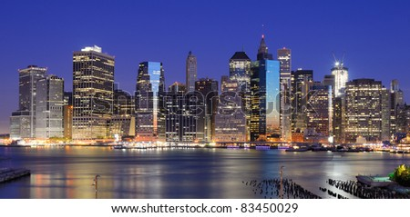 Lower Manhattan viewed from Brooklyn Heights in New York City. - stock photo