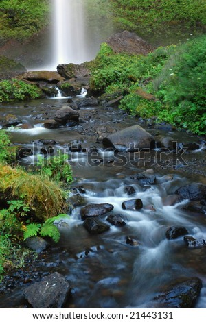 Lower part of Latourell falls along the Columbia Gorge Scenic Highway, Oregon, Guy W. Talbot State Park - stock photo