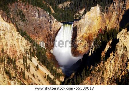 Lower Yellowstone Falls - stock photo