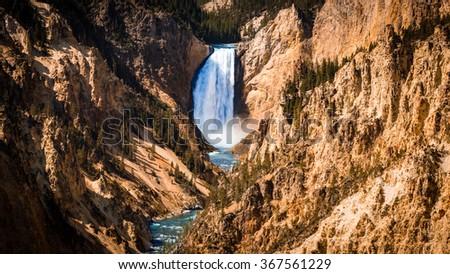 Lower Yellowstone Falls in the Yellowstone Nationalpark, USA - stock photo