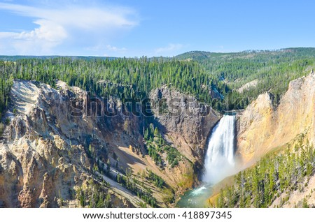 Lower Yellowstone Falls - Yellowstone National Park, Wyoming - USA  - stock photo