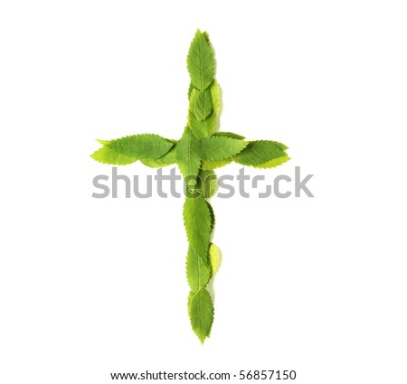 Lowercase letters made of leaves - stock photo