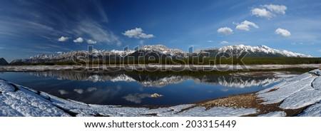 Lowerlake Kananaskis Canada panorama picture - stock photo