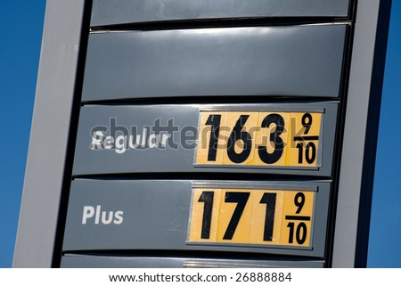 Lowest gasoline prices on texan gas station in 2008