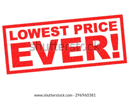 LOWEST PRICE EVER! red Rubber Stamp over a white background. - stock photo