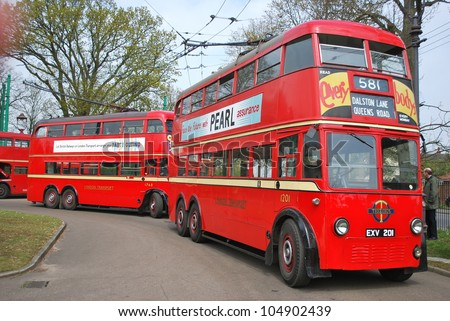 LOWESTOFT, ENGLAND - MAY 6: The 50th anniversary of the closure of the London trolleybus system, once the largest in the world, was commemorated at the East Anglia Transport Museum on May 6, 2012. - stock photo