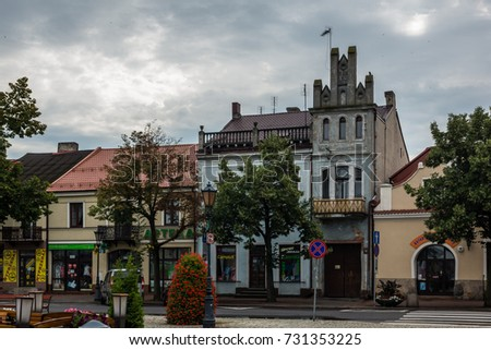 Lowicz, Poland - 23 July 2017 - View on historic buildings on the market