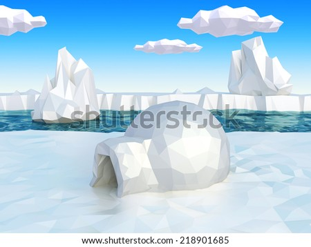Lowpoly artic landscape with igloo - stock photo